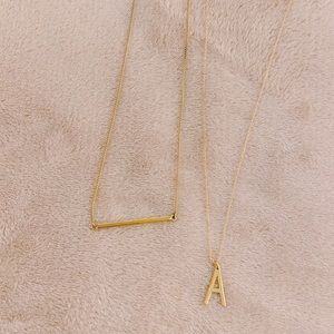 "Forever 21 & H&M Layered Gold Bar and ""A"" Necklace"